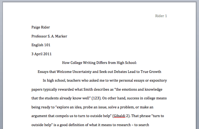 How To Start A College Paper